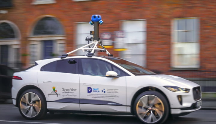 Google Street View's first all-electric car, a Jaguar I-Pace.