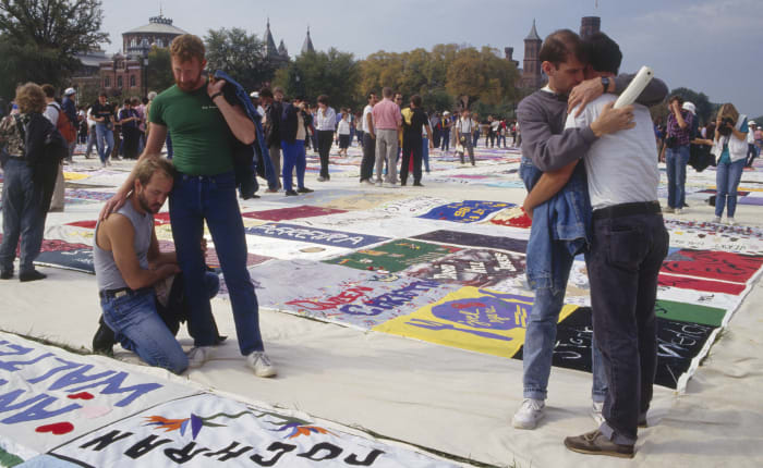 Protesters gather in tribute to AIDS victims, October 1987.