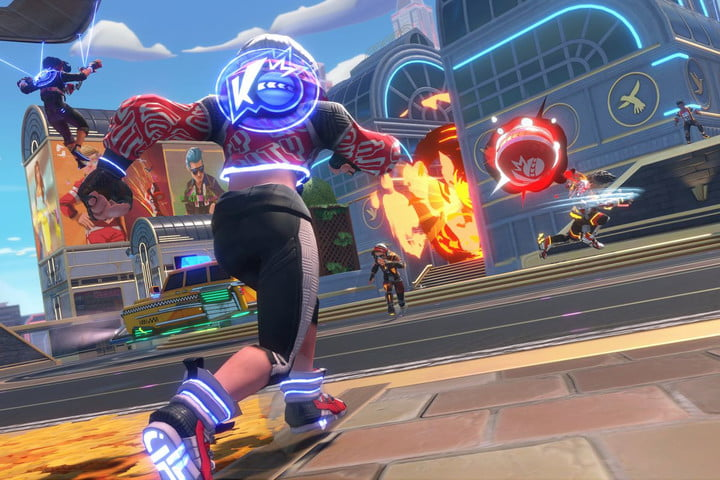 A player throws a dodgeball bomb in Knockout City.