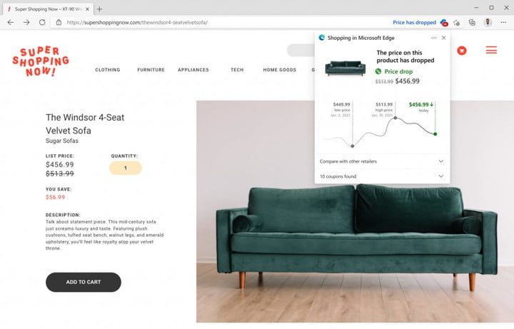 A price history chart as part of the new Edge shopping experience.
