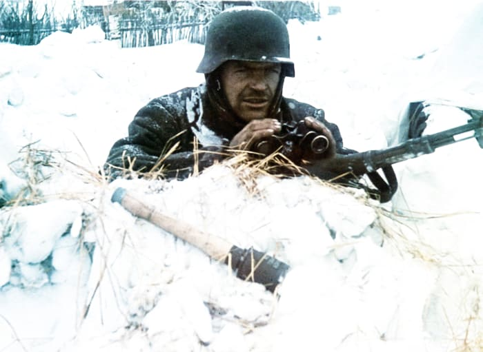 A Wehrmacht soldier takes part in the Axis invasion of the USSR, known as Operation Barbarossa, in 1941.