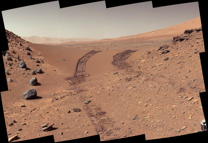 This look back at a dune that NASA's Curiosity Mars rover drove across was taken by the rover's Mast Camera (Mastcam) on Feb. 9, 2014, or the 538th Martian day, or sol, of Curiosity's mission.