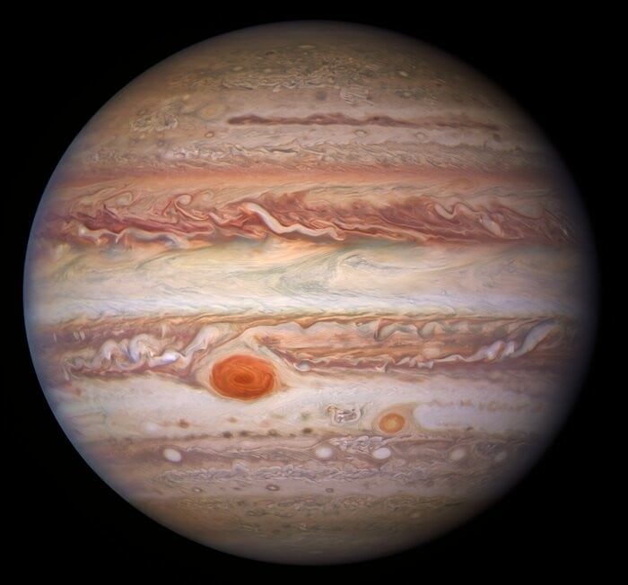 This visible-light image of Jupiter was created from data captured on 11 January 2017 using the Wide Field Camera 3 on the Hubble Space Telescope.
