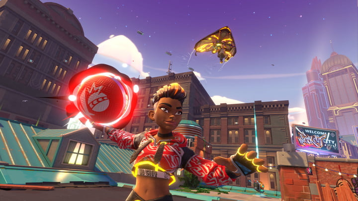A character in Knckout City holds a dodgeball.