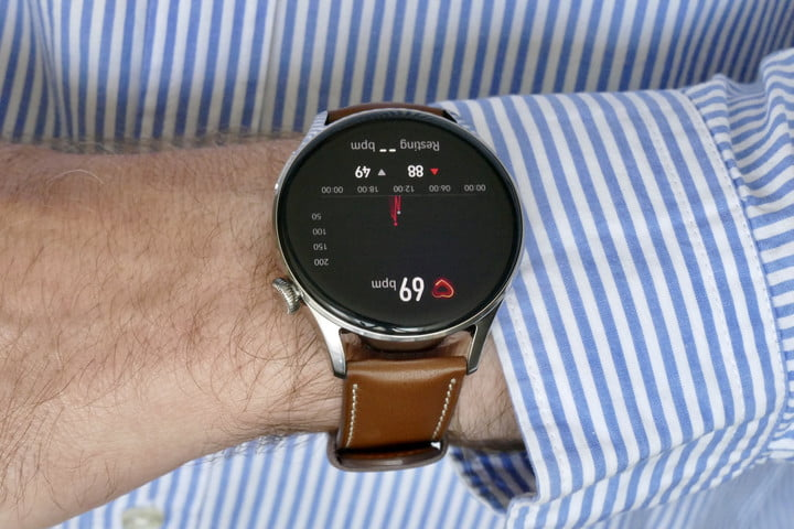 Heart rate reading on the Huawei Watch 3