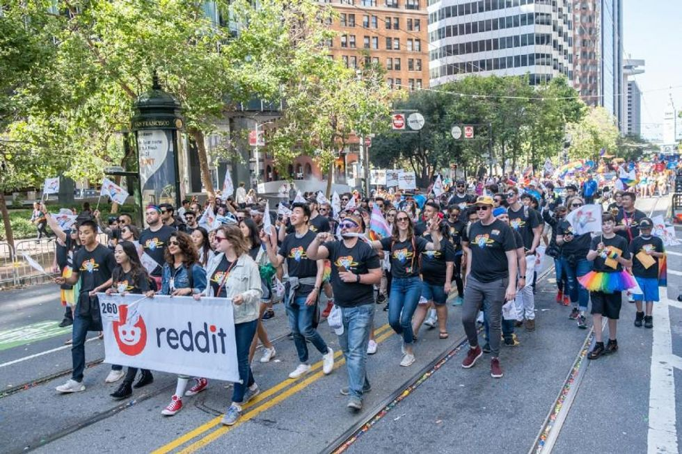 Reddit employees attend Pride Day events.