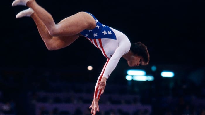 Mary Lou Retton is in the air in the women's vaulting competition at the 1984 Summer Olympics on August 1, 1984.