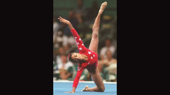 ATLANTA, GA - JULY 30: Dominique Dawes of the United States performs her routine in the Olympic Individual Floor Event on July 29.  Dawes won bronze.