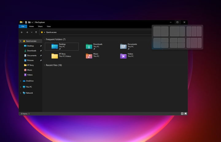 The new Windows 11 window grouping features.