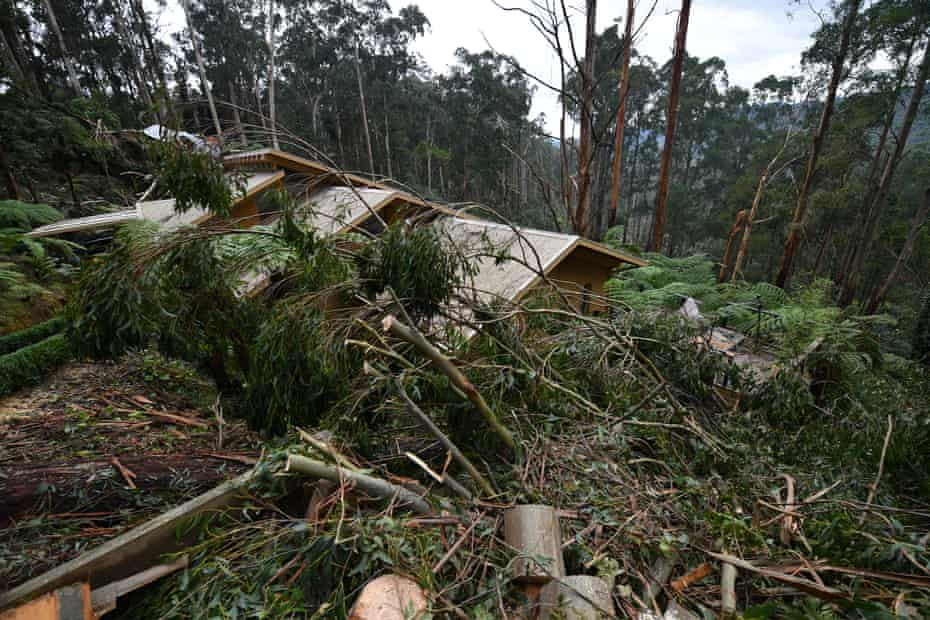 Storm damage to a property is seen in Olinda, Victoria.