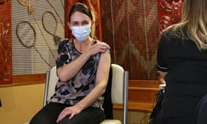 New Zealand Prime Minister Jacinda Ardern receives the first Pfizer Covid vaccine at the Manurewa Vaccination center in Auckland, New Zealand Friday, 18 June 2021.