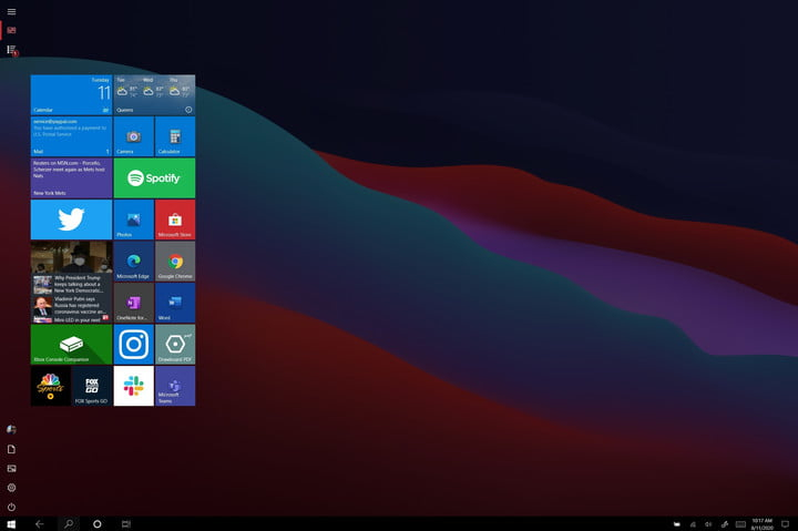 The Windows 10 tablet mode, open with live tiles and apps, with the start menu