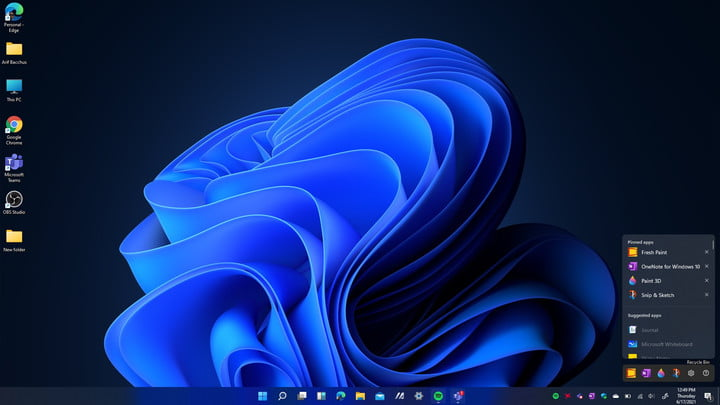 The Windows 11 Inking Settings Page Open at the side of the taskbar