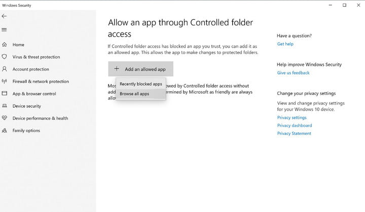 Image showing button for adding an allowed app.