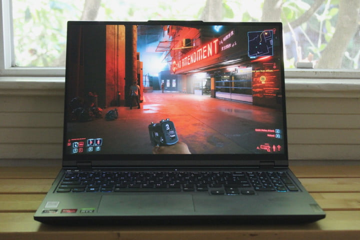The Lenovo Legion 5 Pro with Cyberpunk 2077 being played.