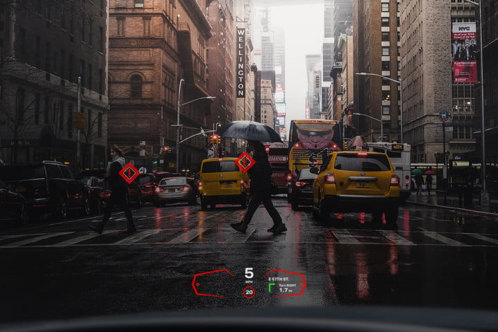 Mockup of how augmented reality in a car might look.