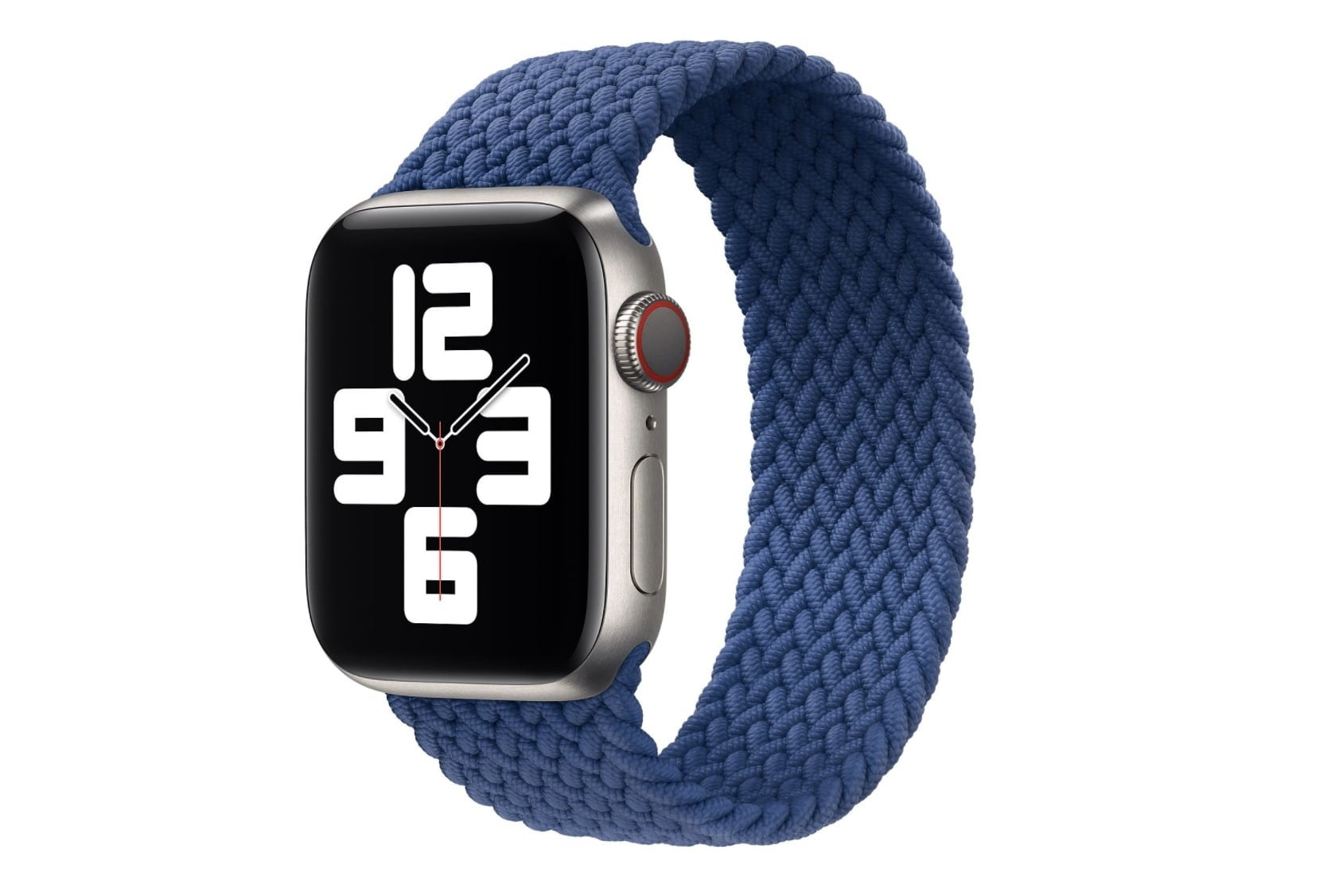 The Apple Watch with the Apple Braided Solo Loop band in blue.