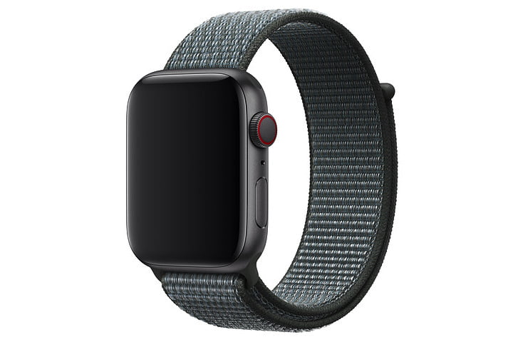 The Apple Watch with the Apple Sport Loop in gray.