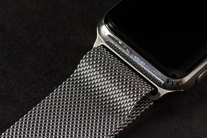The Apple Watch with the Apple Milanese Loop band in stainless steel.