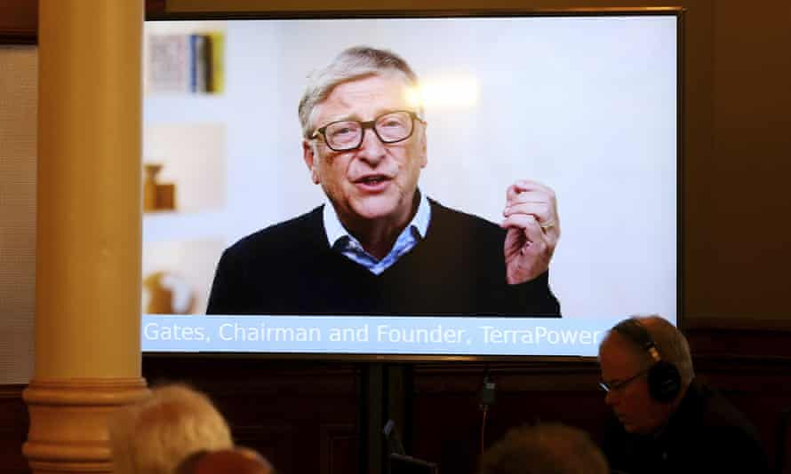 TerraPower founder and chairman Bill Gates speaks by video link at the launch in Cheyenne.