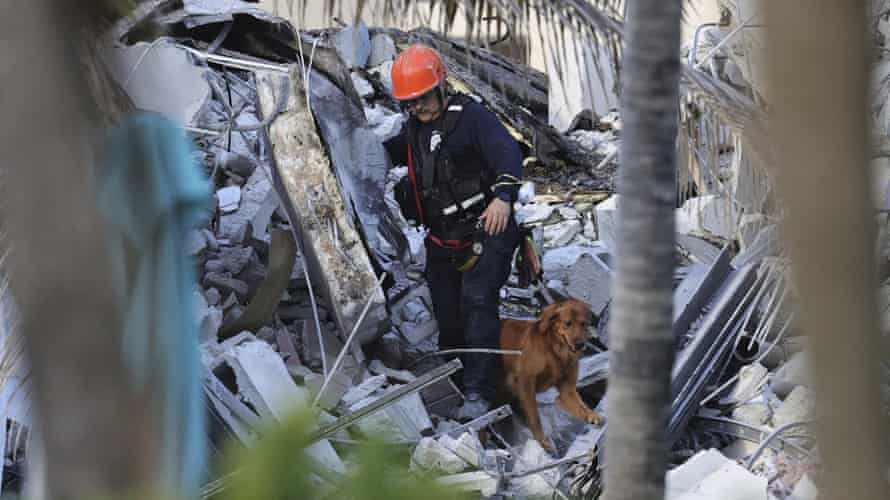 Fire rescue personnel conduct a search and rescue with dogs through the rubble of the Champlain Towers South condo.