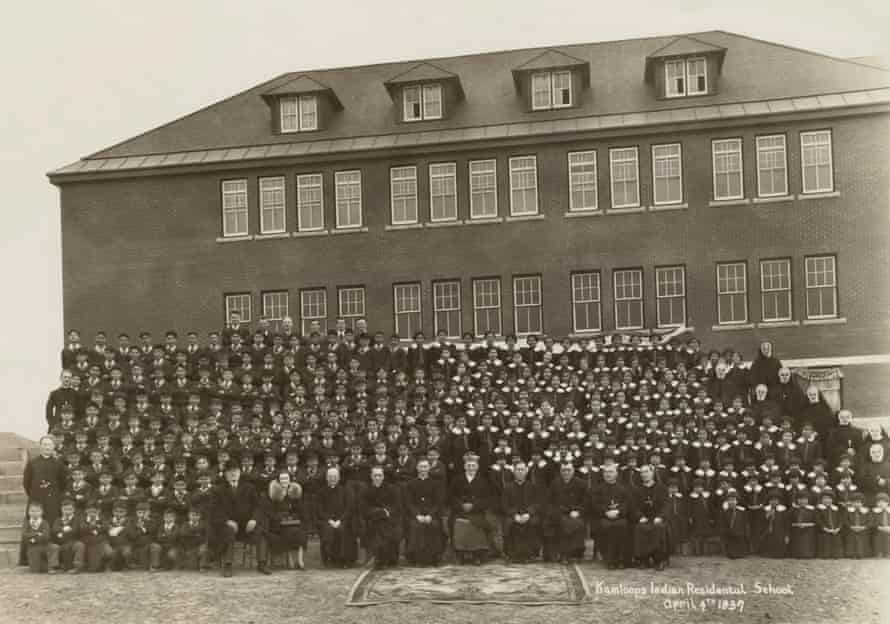 A handout photo made available by the National Centre for Truth and Reconciliation at the University of Manitoba reportedly shows a gathering at the Kamloops Indian residential school in Kamloops, British Columbia, Canada in 1937.
