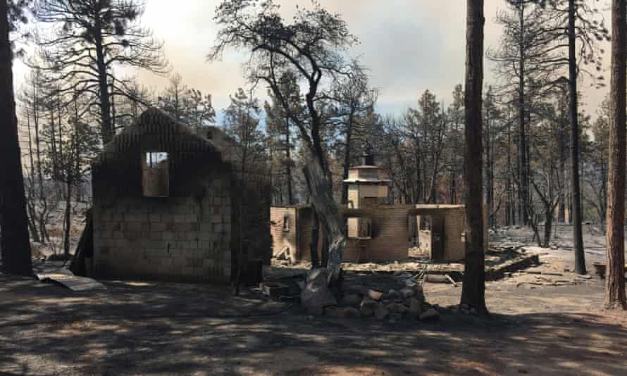 The remains of a home belonging to the Arizona house speaker, Rusty Bowers, destroyed by wildfire in Arizona.