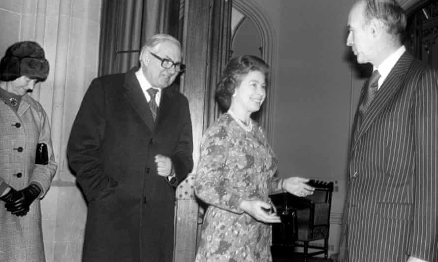 James Callaghan pictured with the Queen in 1977, welcoming the then French president, Valery Giscard d'Estaing, to Windsor Castle.