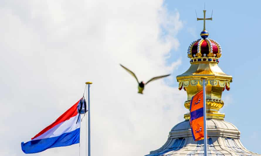 Princess Amalia's rucksack hangs next to the Dutch national flag at the palace on Thursday.