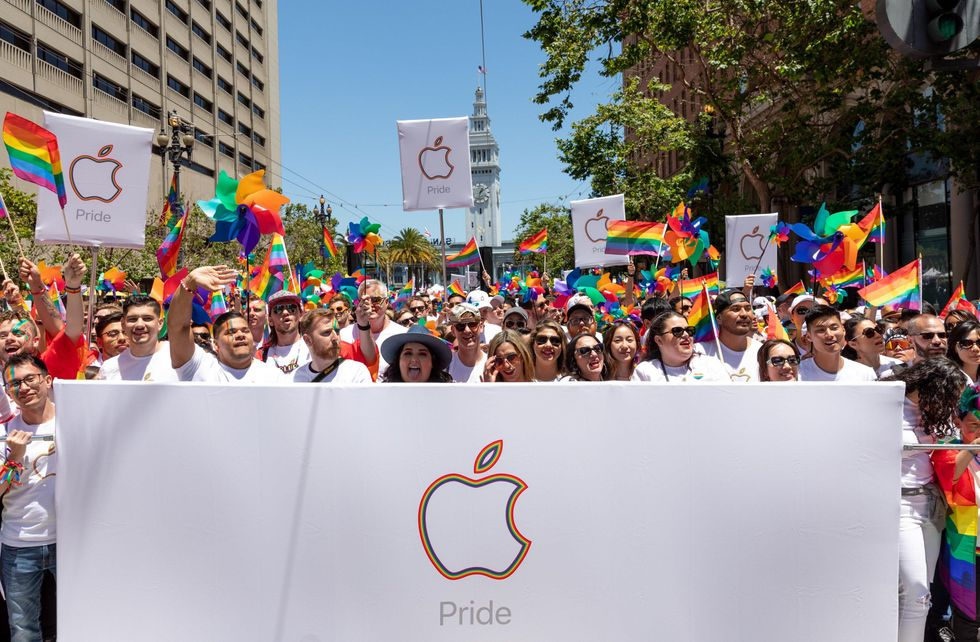 Apple employees take part in the 2019 Pride Parade.