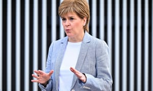 Scotland's First Minister Nicola Sturgeon speaks to the media after receiving her second dose of the Oxford/AstraZeneca Covid-19 vaccine at the NHS Louisa Jordan vaccine centre on 21 June 2021 in Glasgow.