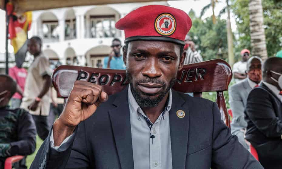 The Ugandan opposition leader Bobi Wine poses for a photograph after his press conference at his home in Magere, Uganda, in January.