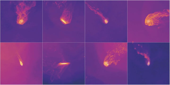 Eight examples for jellyfish galaxies. Images like these are presented to the participants of the new Zooniverse project for classification.