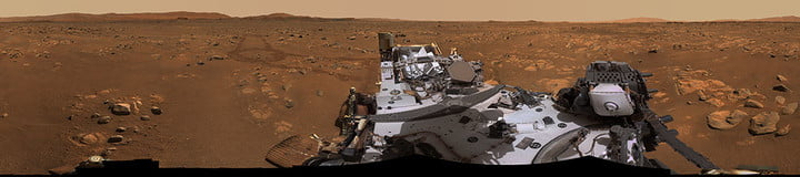 """Perseverance's Mastcam-Z imaging system captured this 360-degree panorama at """"Van Zyl Overlook,"""" where the rover parked during Ingenuity helicopter's first flights. The 2.4-billion-pixel panorama consists of 992 images stitched together."""