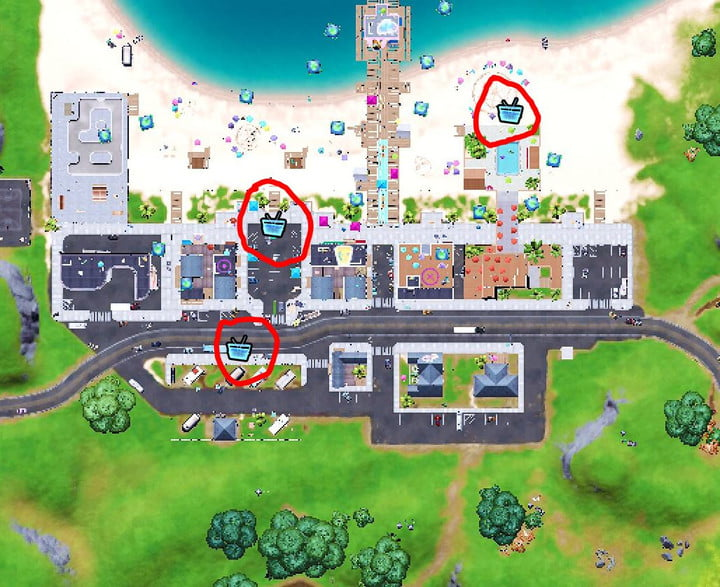 Map showing where to place boomboxes in Believer Beach.