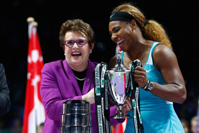 Serena Williams (right) with Billie Jean King after Williams won over Romanian Simona Halep in the BNP Paribas WTA Finals at the Singapore Sports Hub on October 26, 2014