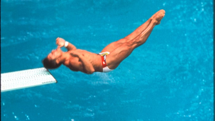 Greg Louganis hits his head on the diving board during the 3-meter competition at the 1988 Olympics in Seoul, South Korea.  Louganis still won the gold medal.