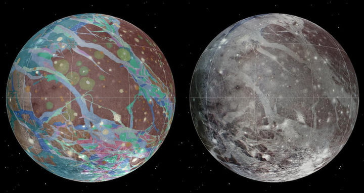 Left to right: The mosaic and geologic maps of Jupiter's moon Ganymede were assembled incorporating the best available imagery from NASA's Voyager 1 and 2 spacecraft and NASA's Galileo spacecraft.
