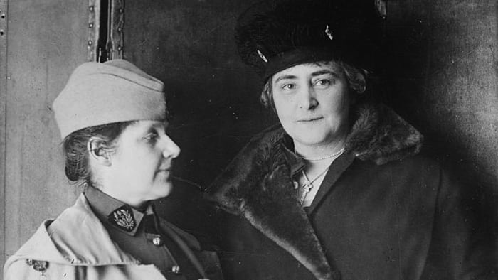 Photograph shows Dr. Rosalie Slaughter (1876-1968), co-founder of the American Women's Hospitals Service, with philanthropist Anne Tracy Morgan (1873-1952), who worked to provide relief during World War I.