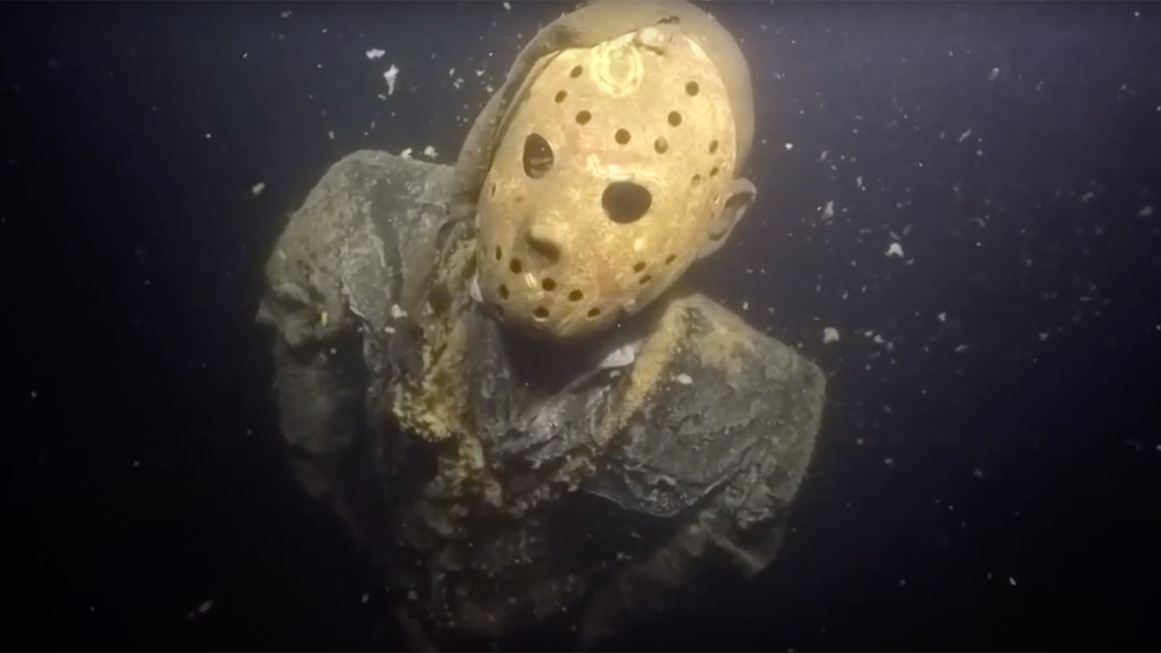 Unusual: a statue of the killer Jason was chained to the bottom of a lake