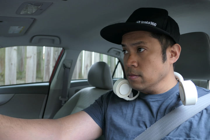 wearable fan while driving