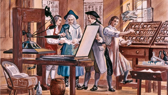Benjamin Franklin is pictured at age 15 in his brother's printing house in Boston, Massachusetts.