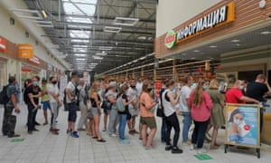 People line up to receive vaccine against the coronavirus disease (COVID-19) at a vaccination centre in the Globus shopping mall in Vladimir, Russia.
