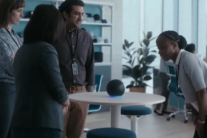 A still from a Super Bowl commercial featuring Amazon Alexa.