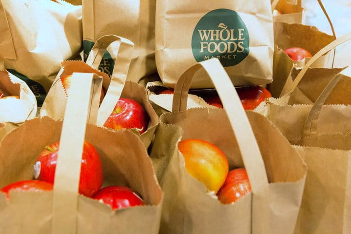 Whole Foods shopping bags.
