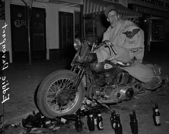 July 7, 1947: Eddie Davenport of Tulare, Calif., On a motorcycle after the Hollister Barney Peterson motorcycle riot / San Francisco Chronicle via Getty Images