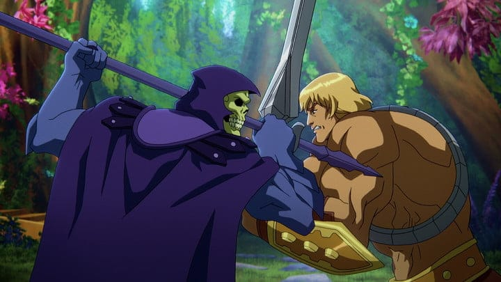 Skeletor and He-Man lock swords in a scene from Masters of the Universe: Revelation.