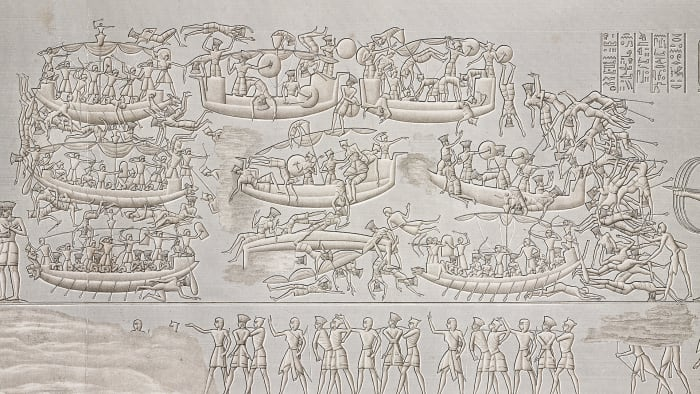 Ramses III and his soldiers defeating the peoples of the sea during the Battle of the Delta (naval battle), relief, mortuary temple of Ramses III, temple complex of Medinet Habu, Theban necropolis, Luxor, Egypt.