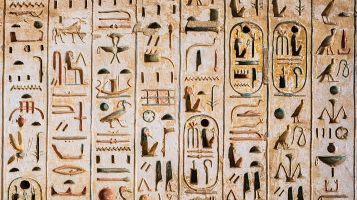 Details of hieroglyphics in Luxor, Valley of the Kings.