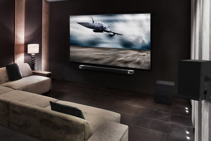 Klipsch Cinema 1200 Dolby Atmos Sound Bar in a home theater room.